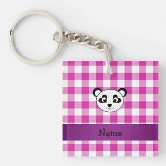 Your name panda bear head pink gingham checkers Single-Sided square acrylic key ring