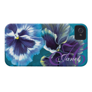 """""""Your name"""" pansy floral aqua iphone 4 case"""