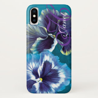 Your name pansy floral aqua iphone case