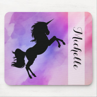 Your Name Pastel Unicorn Mouse Pad