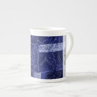 Your Name - Patchwork, Flowers, Swirls - Blue Bone China Mug