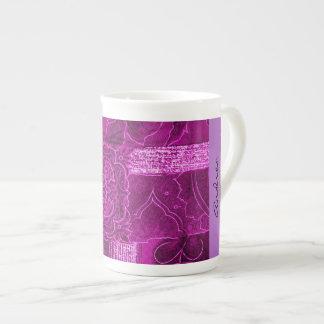 Your Name - Patchwork, Flowers, Swirls - Pink Bone China Mug