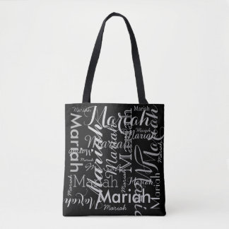 your name pattern black stylish tote bag