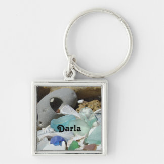 Your Name Personalized Key Chain Seaglass Fossils