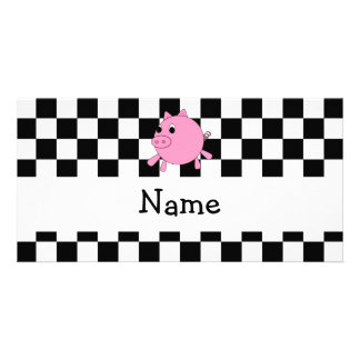 Your name pig black white checkers custom photo card