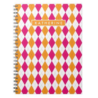 Your Name   Pink & Orange Argyle Notebook