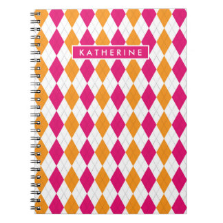 Your Name | Pink & Orange Argyle Notebook