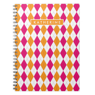 Your Name | Pink & Orange Argyle Notebooks