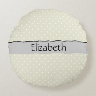 Your Name - Polka Dots, Dotted Pattern - Beige Round Cushion