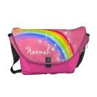 """your name"" rainbow pink kids school bag commuter bag"