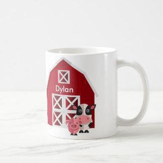 Your Name Red Barn with Farm Animals Kids Mug