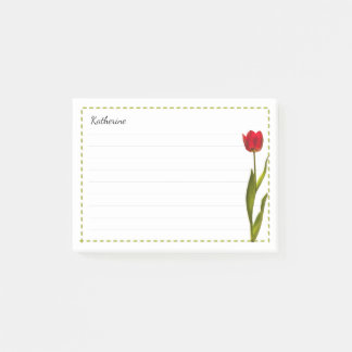 Your Name - Red Tulip Spring Floral Photography Post-it Notes
