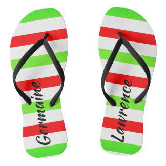 (Your Name) Red White Green Stripes Christmas Col. Thongs