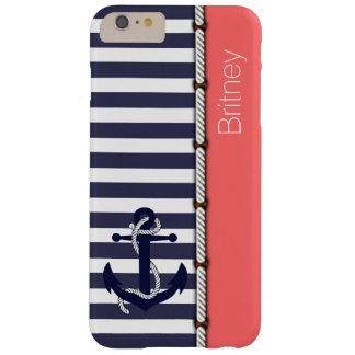 Your Name Retro Boat Anchor Cute Stripes Pattern Barely There iPhone 6 Plus Case