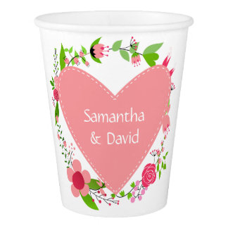 Your Name(s) in a Heart paper cups