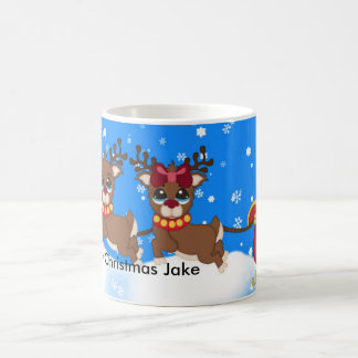 Your Name Santa In Sleigh With His Reindeer Mug