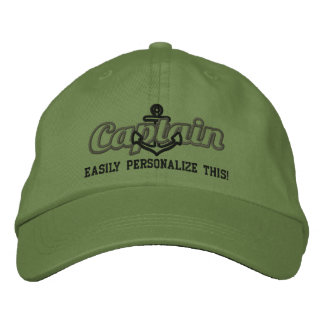Your Name Sea Captain Nautical Anchor Embroidery Embroidered Cap