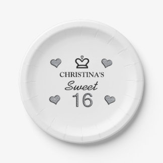 Your Name Sweet Sixteen In Diamonds Paper Plate