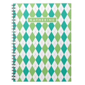 Your Name   Teal & Green Argyle Notebook