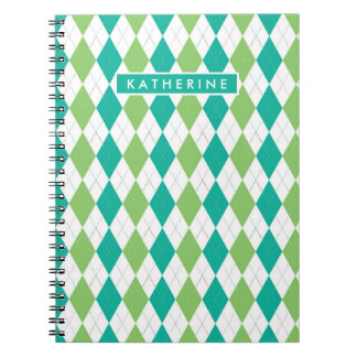 Your Name | Teal & Green Argyle Notebooks