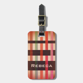 Your Name & Vintage Weaving Stripes Luggage Tag