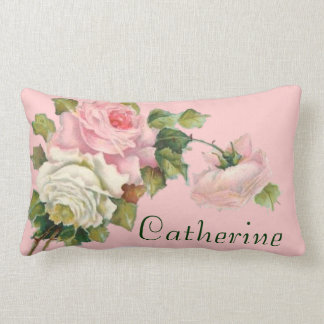 Your Name with Pretty Pink Roses Pillow Throw