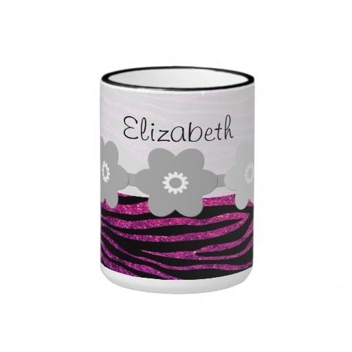 Your Name - Zebra Print, Glitter - Pink Gray Mugs