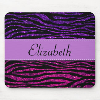 Your Name - Zebra Print, Glitter - Pink Purple Mouse Pad