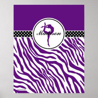 Your Name Zebra Print Gymnastics in Purple