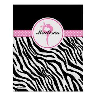 Your Name Zebra Print Gymnastics with Pink Details