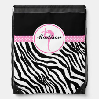 Your Name Zebra Print Gymnastics with Pink Details Drawstring Bag