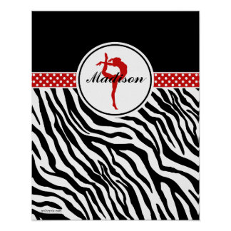 Your Name Zebra Print Gymnastics with Red Details