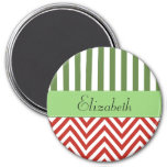 Your Name - Zigzag (Chevron) - Red Green White Refrigerator Magnet