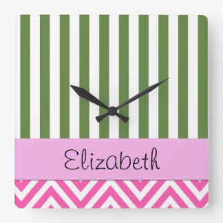 Your Name - Zigzag Pattern, Chevron - White Pink Wallclocks