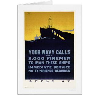 Your Navy Calls - Firemen Needed (US02298) Card