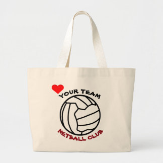 Your Netball Team Ball Logo Design Personalised Large Tote Bag