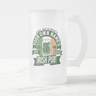 Your Own Name Irish Pub Personalized St Paddys Day Frosted Glass Beer Mug