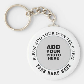 your own name, text & photo on white key ring