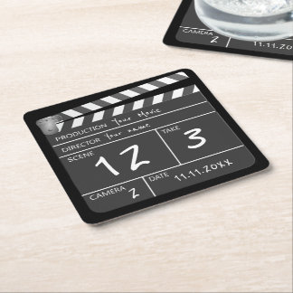 Your Own Personalised Custom Movie Clapperboard Square Paper Coaster