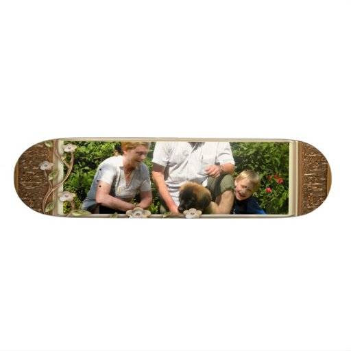 Your own photo in a Golden Flowers Frame! - Skateboard