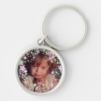 Your own photo starry frame Silver-Colored round key ring