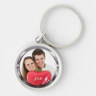 Your own wedding couple photo Silver-Colored round key ring