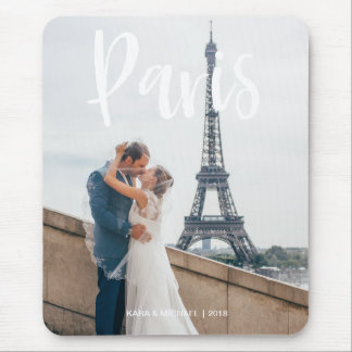 Your Paris Vacation Photo with White Typography Mouse Pad