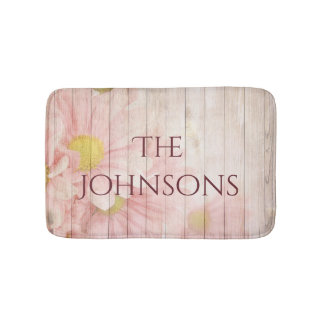 Your Personalised Romantic Pink Floral Bath Mat