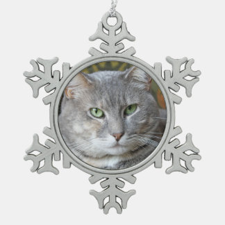 Your Pet Cat Photo Snowflake Ornament