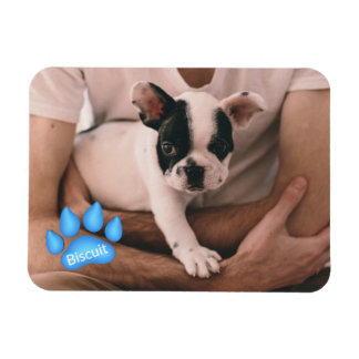 Your Pet Photo with Name in Paw Print Magnet