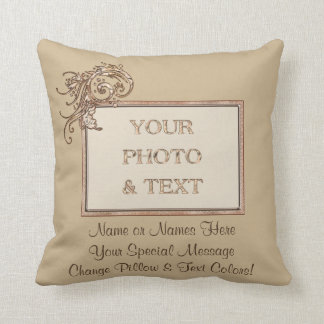 Your Photo and 2 Text Personalized Throw Pillows