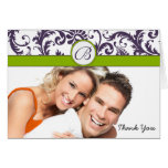 Your Photo Apple Green & Lapis Damask Thank You Note Card