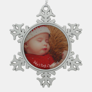 Your Photo Baby's First Christmas Keepsake Pewter Snowflake Decoration