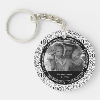 Your Photo - Black/White Centenarian Party Favor Key Ring